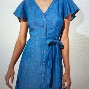 LOFT Chambray Button-down Flutter Sleeve Dress